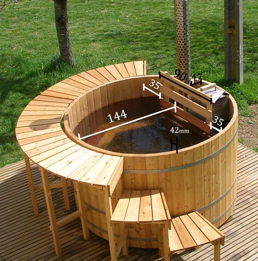 Bovenaanzicht afmetingen houten buitenbad